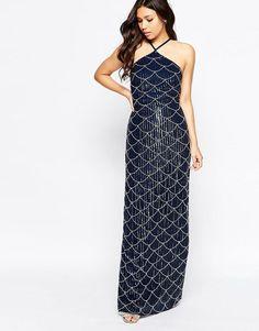 Maya | Maya Halter Neck Embellished Maxi Dress at ASOS