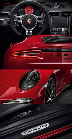 The paintwork in Carmine Red is available as an option for the 911 Carrera GTS models for the first time and which particularly emphasises the black elements of the exterior. #Porsche #911 #Carrera #GTS. Learn more: http://porsche.com/all/countryselector/default.aspx?type=911-carrera-gts Combined fuel consumption in accordance with EU5: 12.4-8.2 l/100 km; CO2 emissions in g/km 289-191.