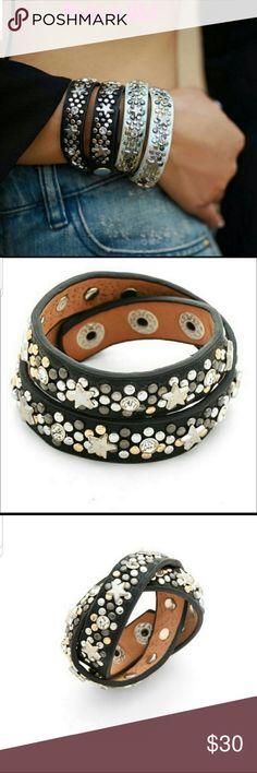 Leather Look Faux Rocker Bracelet Wristlet Studded Metal Biker Fancy Dress