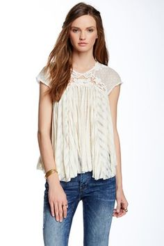 Stars Align Lace Sleeve Swing Blouse
