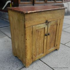 What a GORGEOUS cabinet!!!  I LOVE the colors and the chippy, distressed patina!!  ---19th Century Cottage Painted American Primitive Lift Top Dry Sink Cabinet C1860 | eBay