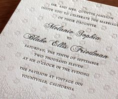 We can just imagine this wedding invitation setting the perfect tone for a bride adorned in a lace veil or with lacy embellishments on her wedding dress.