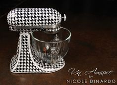 Houndstooth custom KitchenAid mixer, hand painted by Nicole Dinardo of Un Amore INC www.un-amore.com