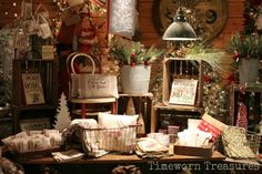 A Christmas display at our shop full of holiday signs and feedbag inspired finds