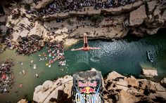 Blake Aldridge of Great Britain diving from the 27.5 metre platform during the seventh and final stop of the Red Bull #CliffDiving World Series at Wadi Shab in #Oman.