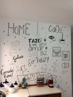 Wall Decored Cafe Ideas Chalk Board New Ideas Wall Painting Decor, Wall Paint Colors, Mural Wall Art, Wall Collage, Wall Decor, Chalkboard Wall Bedroom, My Home Design, Posca, Wall Drawing