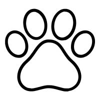 Paw print icon / pictogram created by Rafael Farias Leão for The Noun Project.