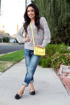 chunky sweater bf jeans
