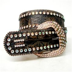 b.b. simon Brown Crocodile Print Belt 3090-J91-13 $330.00