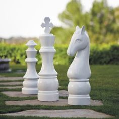 Chess Pieces Garden Art ~ can you imagine these as a prop for child in costume? Or baby even.