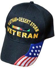 6ad43b05dfa3e Vietnam and Desert Storm Veteran Baseball Cap Black Military Hat with  American Flag Design