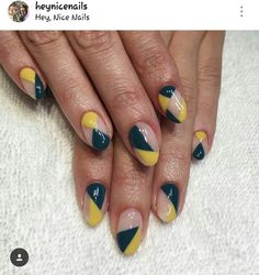 Mustard and teal nails