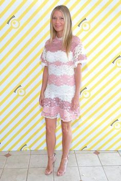Gwyneth Paltrow wearing Burberry Elisabetta Floral Lace Dress With Flutter Sleeves in Dusty Pink and Gianvito Rossi Portofino Sandals