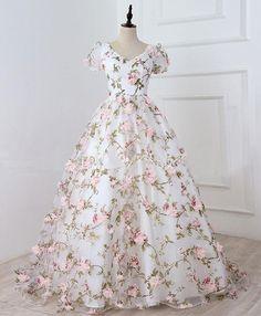 Custom Made Fancy Prom Dresses White, White V Neck Flowers Long Prom Dress, White Evening Dress Floral Prom Dresses, Prom Dresses For Teens, Formal Dresses For Weddings, Ball Dresses, Ball Gowns, Bridesmaid Dresses, Summer Dresses, Blush Prom Dress, Wedding Dresses