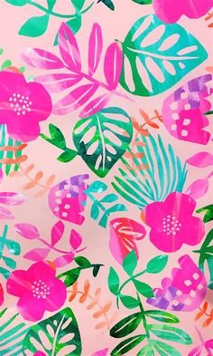 Summer Wallpaper, Trendy Wallpaper, Pretty Wallpapers, Flower Wallpaper, Pattern Wallpaper, Tropical Wallpaper, Print Wallpaper, Girl Wallpaper, Cute Backgrounds