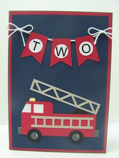 Personalized Birthday Card Fire Truck By DawnsGreetingCards First Cards Homemade
