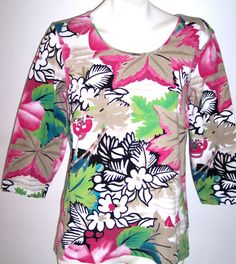 Chico's Top 1 Chicos Additions Size S Floral Cotton Blend Casual Pullover Shirt  #Chicos #KnitTop #Casual