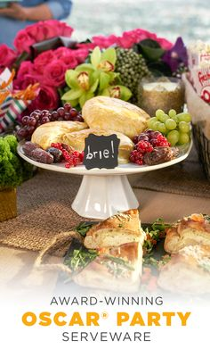 Grapes and cheese go together like movies and popcorn. Garnishing dishes with beautiful fruits adds color to your tabletop and offers guests a healthy eating option, too. Stack them up on a cake stand, like this one from Kohl's, for even more height. #AllTheGoodStuff Champaign Toast, Copywriting, Grapes And Cheese, Party Spread, Beautiful Fruits, Oscar Party, Oscars, Tabletop, Food Displays