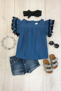 Blue Pom Pom Shirt