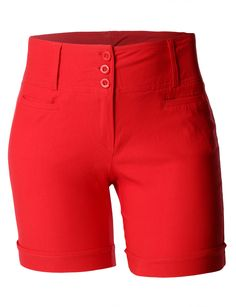 LE3NO Womens Plus Size High Waisted Bermuda Shorts with Stretch