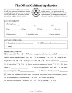 Girlfriend Application Form  Xd    Girlfriends Random