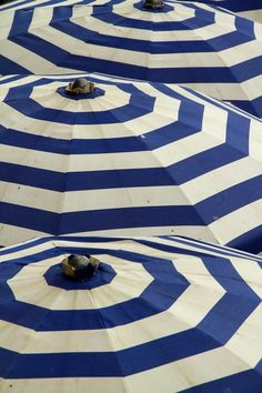 Blue and White Striped Umbrellas