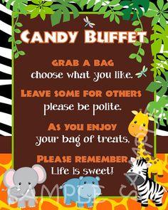 Custom Baby Jungle Safari Candy Buffet by creativelyexpressive, $9.00