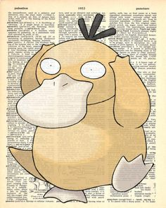 Psyduck Pokemon Dictionary Art Print by MollyMuffinsPrints on Etsy