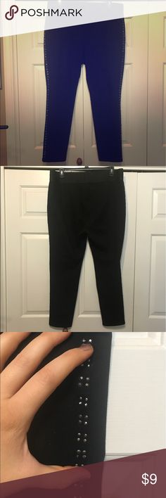 Style n Co Black Leggings Nice black leggings with studding down the legs. A couple of the studs are missing, but you can't really notice it. Worn a couple of times, but very nice condition. Comfortable wide elastic waistband. Cotton, polyester, spandex Style & Co Pants Leggings