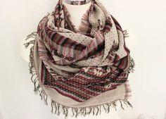 Oversized scarf, Senior Men scarf, Cream burgundy scarf, Men linen scarves, Hand-woven scarf, Unique scarf, Men gift, Men scarves, Boho