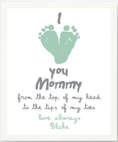 Grand Mother's Day Gifts for Sittie. BUY: Personalized I Love Mommy Footprint Artwork Print by Pitter Patter Print @ Etsy . Diy Mothers Day Gifts, Daddy Gifts, Gifts For Mom, I Love Mommy, I Love You Mom, Todo List, Classroom Tools, Baby Footprints, Dad Day