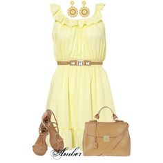 """""""Yellow Smock Waist Dress"""" by stay-at-home-mom on Polyvore"""