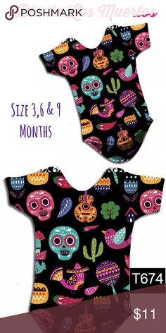 Día de Los Muertos Baby Onesie Mexican Halloween Super cute Day of the Dead / Mexican Halloween Baby Onesie! Available in sizes 0-3, 3-6 and 6-9 months. Made with soft stretchy cotton blend fabric. Three snap closures on bottom. Style T-674 is also available in Girls and Adult Sizes up to 3XL. Check out our listings! Style 674 features Mexican guitars, Sugar Skulls, Birds, Cactus and more folk elements. The Onesie is printed in HD color using the sandblasting technique, we print the front of…