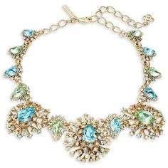 Oscar De La Renta Faceted Crystal Starburst Statement Necklace ($1,090) ❤ liked on Polyvore featuring jewelry, necklaces, green, leaves necklace, leaf necklace, pave crystal necklace, statement necklaces and crystal bib statement necklace