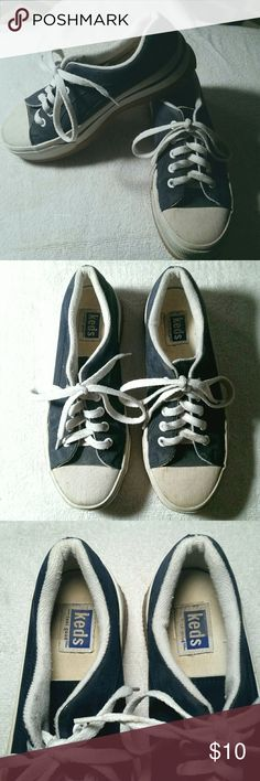 Keds Thick Sole Sneakers Navy blue Keds sneakers with extra thick sole. Some wear and tear but plenty of miles left in them. Keds Shoes Sneakers