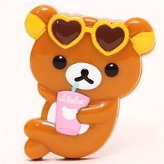 Aloha Rilakkuma brown bear with sunglasses clip peg