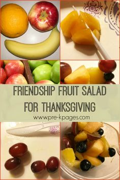 A fun cooperative activity to make fruit salad; friendship, harvest, food activity for preschool, pre-k, and kindergarten; Pre-K Thanksgiving activity Salads For Kids, Healthy Snacks For Kids, Fruit Salad Recipes, Baby Food Recipes, Friendship Salad, Thanksgiving Fruit Salad, Fun Activities For Toddlers, Preschool Ideas, Fruit Song