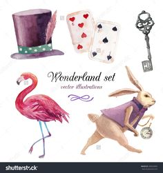 Watercolor Wonderland Set. Hand Drawn Vintage Art Work With White Rabbit, Playing Cards, Silver Key, Cylinder Hat And Flamingo. Vector Fairy Tale Illustrations Isolated On White Background - 280929809 : Shutterstock