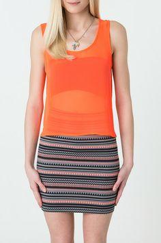 Orange Crop Top With Open Back