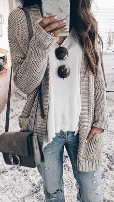 #winter #outfits gray knit cardigan, black sunglasses, and white v-neck shirt #cardiganfall