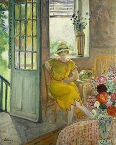 Nono in Alcove with Bouquet of Flowers by Henri Lebasque (France)