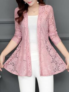 Shop berrylook collarless lace see through plain cardigan online get outfit ideas style inspiration from fashion designers at adorewe com Kurti Designs Party Wear, Kurta Designs, Blouse Designs, Fashion Design Inspiration, Stil Inspiration, Mode Outfits, Dress Outfits, Fashion Dresses, Fashion Clothes
