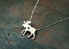 Moose necklace elk sterling silver tiny silver by JustPlainSimple. ONLY GOLD! Moose Decor, Lost Wax Casting, Diamond Pendant Necklace, Diamond Necklaces, Reno, Animal Jewelry, Modern Jewelry, Sterling Silver Necklaces, Silver Earrings