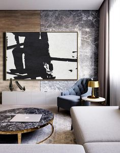 CZ Art Design. Horizontal Minimal Art, minimalist painting on canvas, black and white large canvas art #MN47C.  for contemporary homes. Interior design decor.
