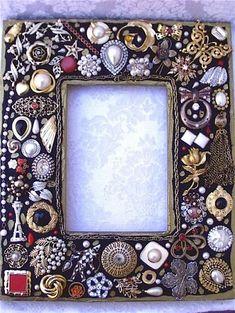 Art: Vintage Jewelry Mosaic Photo Frame - Black (Sold) by Artist Laura Winzeler - Bilderrahmen Costume Jewelry Crafts, Vintage Jewelry Crafts, Recycled Jewelry, Vintage Costume Jewelry, Jewelry Frames, Jewelry Tree, Silver Jewelry, Diy Jewelry, Fashion Jewelry