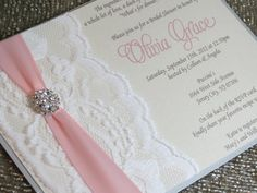 JEMMA  Lace Shower Invitation  Pink and Silver by peachykeenevents, $4.50