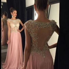 New Arrival Sexy Prom Dress Evening Dresses Beaded Bodice Sheer Back Floor Length Long Evening Dress Party Dress Prom Gown