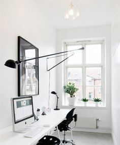Ideas about home office organization: 265 wall lamp by Flos
