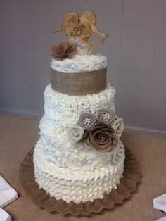 Wedding Cake For 50th Anniversary Of My Aunt And Uncle Burlap Lovebirds