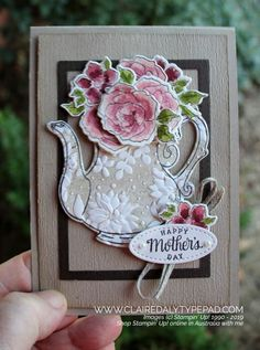 Stampin' Up! Tea Together Stamp Set and coordinating Tea Time Dies - Stampin' Up! Tea Together Stamp Set and coordinating Tea Time Dies Stampin Up Tea Together stam - Paper Craft Supplies, Paper Crafts, Tea Time Magazine, Stampin Up, Coffee Cards, Stamping Up Cards, Mothers Day Cards, Flower Cards, Creative Cards